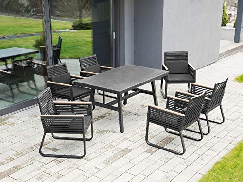 Beliani Gartentisch Balkon Terasse Glasplatte schwarz Canetto