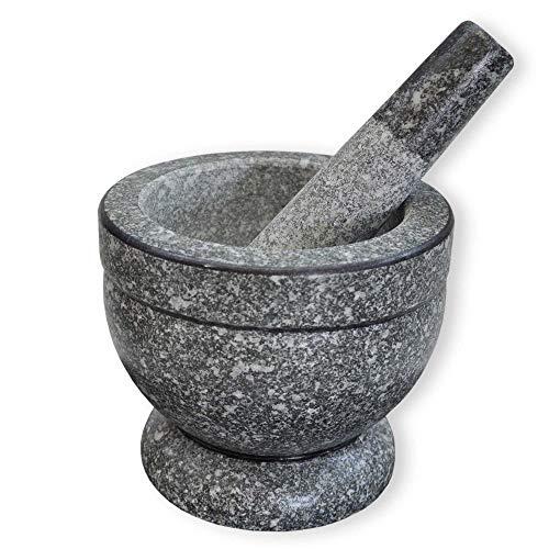 Wilai GmbH Granit Mörser mit Stößel, hochwertig - robust - langlebig, Steinmörser, Granitmörser, Gewürzmörser, Verschiedene Größen verfügbar (Ø 17 cm)