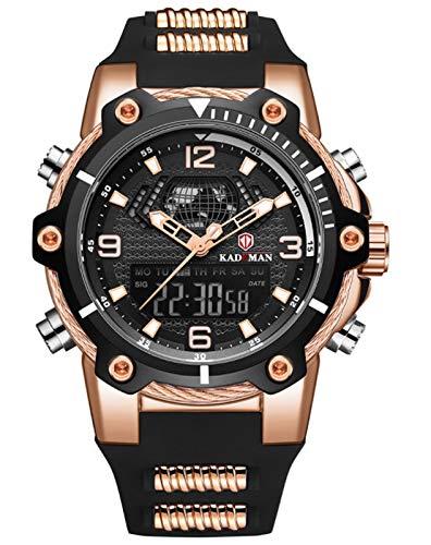 MLHXHX Reloj despertador para hombre, calendario, multifunción, correa impermeable, oro rosa