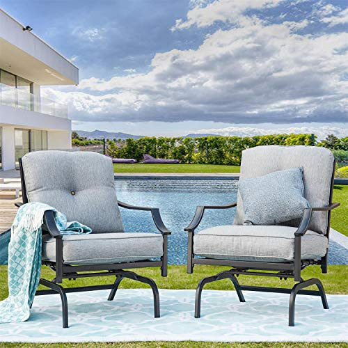 PatioFestival Rocking Patio Chairs Outdoor Metal Furniture Motion Spring Patio Chair Black Metal Dining Bistro Set with Padded Cushion for Porch Garden Balcony