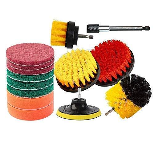 Juego de accesorios de cepillo de limpieza de taladro de pieza, cepillo de taladro y almohadillas de fregado, cepillos y almohadillas de fregado de energía giratoria para fregado de ducha de baño,