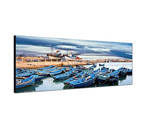 Muurafbeelding op canvas als panorama in 150x50 cm Marokko zee haven boten wolkenhemel