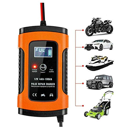 Review WXCC Intelligent Quick Charger, Smart Motorcycle Charger with LCD Display, Battery Charger Ja...