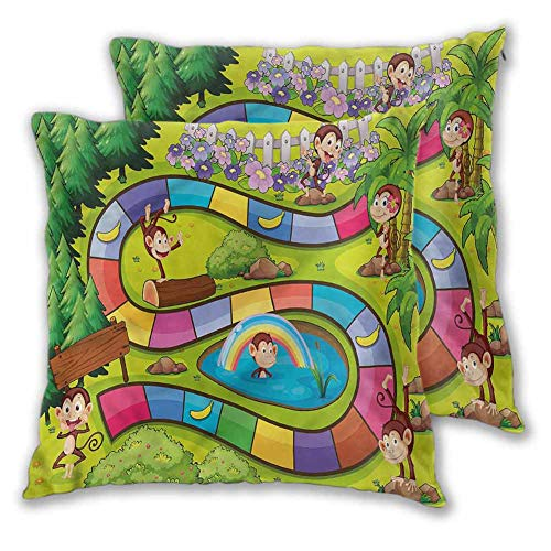 Lumbar Throw Pillow Board Game Sofa Bedroom Car Decorative Funny Monkeys Bananas W13 xL13