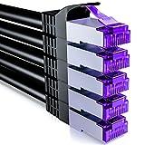 deleyCON 5X 2m RJ45 Cable de Conexión Ethernet & Red con Cable en Bruto CAT7 S-FTP PiMF Blindaje Gigabit LAN SFTP Cobre DSL Conmutador Enrutador Patch Panel - Negro