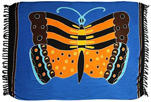 Sarong Sar61 - Toalla de playa, pareo, falda, diseño de mariposas, color azul