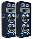 2x600W Party DJ PA Lautsprecher-Paar Disco Boxen doppel 20cm BASS Blue-LED E-Lektron SPL220