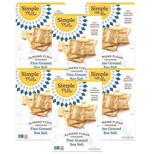 Simple Mills Almond Flour Crackers, Fine Ground Sea Salt, 4.25 Ounce (Pack of 6)