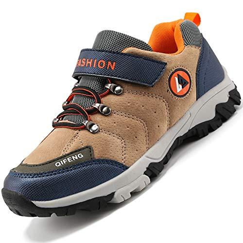 Unitysow Kinder Trekking- & Wanderschuhe Jungen Mid Wanderstiefel Mädchen Outdoor Trekking Schuhe rutschfeste Sneaker Gr.29-39,Braun-1 Gr.33