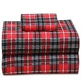 Conjunto de lençóis de flanela de 4 peças 100% algodão da Ruvanti – Bolso profundo – Quente – Supermacio, Vermelho, Twin XL