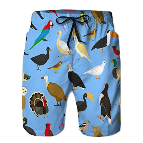 Xunulyn Shorts Casuales para Hombre Bañador Shorts de Playa Shorts domésticos Tropicales Otras Aves Cardenal búhos flamencos águilas Loro de mar Calvo Ganso Cuervo gorrión Pollo Pavo toco