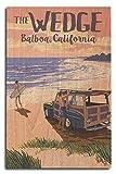 PotteLove Placa de Madera para decoración de Pared, diseño de la Isla de Balboa, California, la cuña, Woody on The Beach de 10 x 15 Pulgadas
