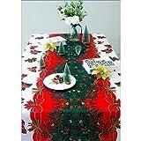 Nappe De Noël Rectangulaire Polyester 150 * 180cm Noel De Sapin Motifs pour Noel Table Decoration (A) (A)