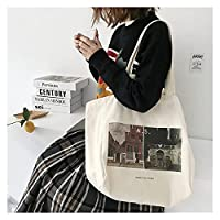ンス キャンバス トートバッグ レトロなシンプルなキャンバスショッピングバッグショルダーバッグ 贈り物 (Color : Horizontal)