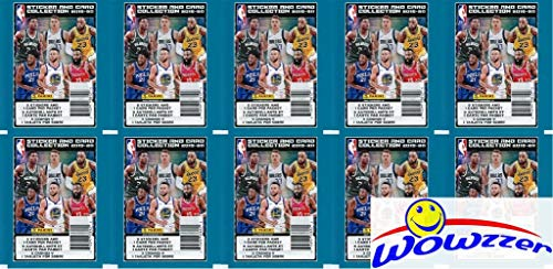 2019/20 Panini NBA Basketball Stickers Collection of 10 Factory Sealed Packs with 50 Brand New Stickers & 10 Cards! Look for Zion Williamson, Lebron James, Luka Doncic, RJ Barrett & Many More! WOWZZER