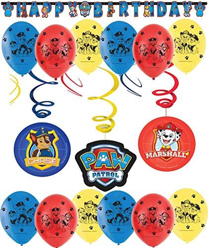 Libetui 'Paw Patrol' Geburtstag Dekoration Set Happy Birthday Deko Bunte Spirale Luftballon Paw Patrol für jeden Alter