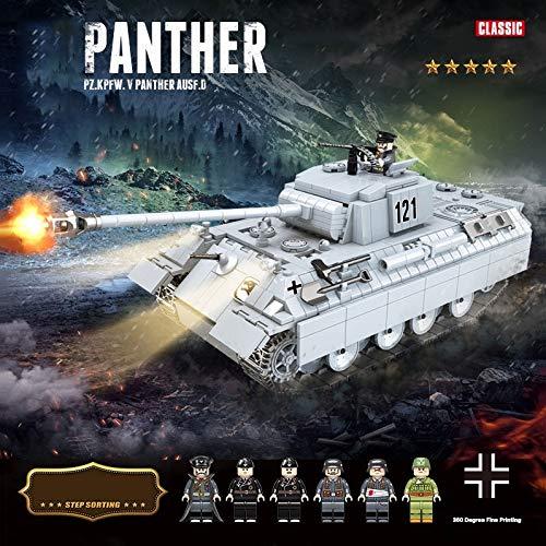 Zenghh Panther Medium Tank Bauklotz, Armee 990Pcs Heavy Track Raupen Automobil-3D Model Kit sowjetischen Weltkrieg spielt kompatibles mit dem Military Construction Set Silber for im Alter von 6 Jahre