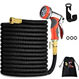 HmiL-U 150FT Expandable Garden Hose-Strongest Water Hose with Double Latex Core, 3/4' Solid Brass Fittings, 4-Layers Latex,3750D Extra Strength Fabric Heavy Duty 8 Adjustable Watering