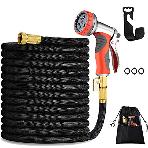 100FT Expandable Garden Hose Durable No-Kink Flexible Garden Water Hose Set 3/4' Solid Brass Fittings, 4-Layers Latex,3750D Extra Strength Fabric with Heavy Duty Metal Watering Patterns. (100FT-B)