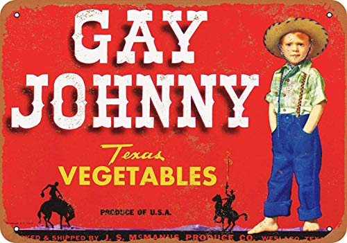 Gay Johnny Vegetables Póster de Pared Metal Creativo Placa Decorativa Cartel de Chapa Placas Vintage Decoración Pared Arte para Carretera Bar Café Tienda