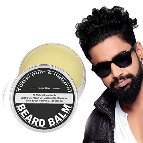 60g Balsamo per barba da uomo, Burro di baffi, Cera da barba, Crema idratante e idratante per crema di crescita e lozione lenitiva, Crema e burro per la cura dell'uomo