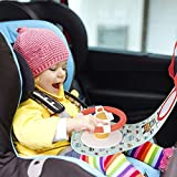 Baby Car Seat Toys for Infants   Chibon Infants Steering Wheel Toys with Music, Lights, Mirror and Driving Sounds   in-Car Play Center for Stroller   Parent and Baby's Travel Companion