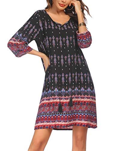 Beyove Damen Bohemian Tunika Kleid Strandkleid Tunikakleider Vintage Strandtunika 3/4-Arm Rundhals Kleid Blumenmuster Kurzes Sommerkleider Tops