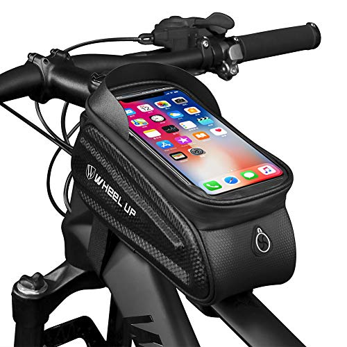 Gardom Fahrrad Rahmentaschen Wasserdicht Fahrradtasche Lenkertasche Smartphone Halter Tasche für iPhone X/8/7 Plus/7/6S/6 Plus/5S Unter 7 Zoll (Weiße Buchstaben)