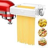 Pasta Maker Attachment for KitchenAid Stand Mixers, 3 in 1 Set includes Pasta Roller, Spaghetti Cutter&Fettuccine Cutter, Pasta Machine Attachment Accessories for KitchenAid