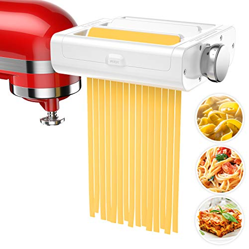 Pasta Maker Attachment for KitchenAid Stand Mixers, 3 in 1 Set includes Pasta Roller, Spaghetti...