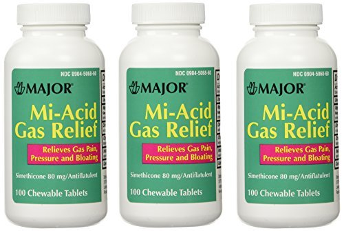 Simethicone 80mg Chewable Anti-Gas Generic for Mylanta Gas 3 PACK 3 X 100 ea. Total 300 Chewable Tablets by Major Pharmaceuticals