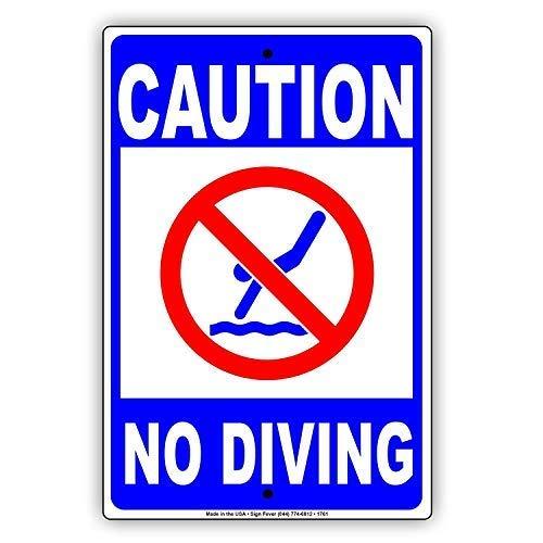 Froy Caution No Diving with Graphic Shallow Water Pool Safety Protection Alert Placas de Metal de la decoración del Vintage de la artesanía para Cafe Bar Garaje Inicio