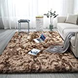 Aujelly Alfombra suave para dormitorio Shaggy de Soft Area Rug, color marrón, 150 x 240 cm