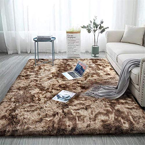 Aujelly Alfombra suave para dormitorio Shaggy de Soft Area Rug, color marrón, 120 x 160 cm