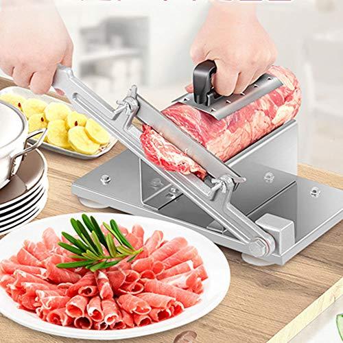 GRX-QRJ Cortafiambres Manual Pequeno,Hoja de aleación de 17 cm/Carne congelada Comercial, Rollos de Carne de Cordero Cortadora de Carne, Cuerpo de Acero Inoxidable, Impermeable, Fácil de Limpiar