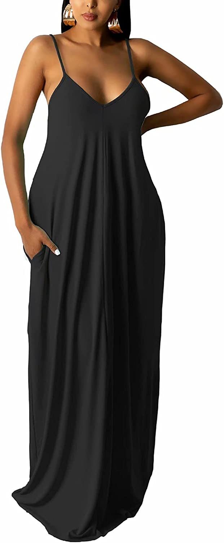 acelyn Womens Summer Spaghetti Strap Dress Casual Sleeveless Deep V Neck Loose Long Maxi Dresses with Pockets