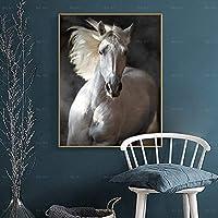 CHBOEN キャンバス絵画家の装飾 ホワイトホースモダンキャンバス印刷動物ポスター印刷壁アート写真リビングルームの家の装飾の装飾防水インク 60x90cm(23.6x35.5インチ)
