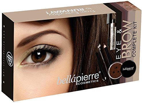 BellaPierre Cosmetics–Eye and Brow Complete Kit Marrone 5Pinzetta, Matita Sopracciglia, Pennello Eyeliner, Mascara trasparente, polvere minerale