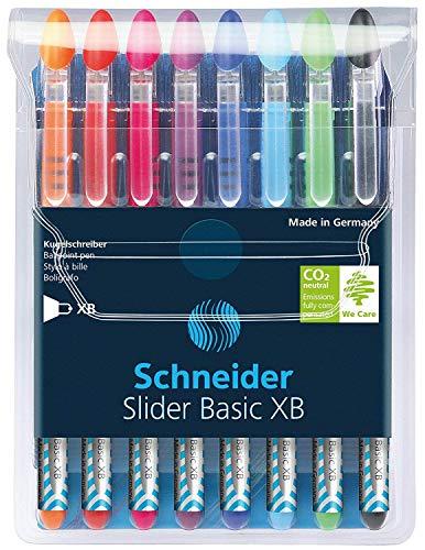 Schneider Slider Basic Kugelschreiber (Kappenmodell mit Soft-Grip-Zone und der Strichstärke XB=Extrabreit, schwarz dokumentenecht) 8er Etui sortiert