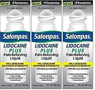 Salonpas LIDOCAINE PLUS 3 oz ROLL ON Pain Relieving Liquid! Maximum Strength 4% Lidocaine for Numbing Pain Relief! MESS FR...