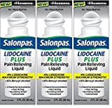 Salonpas LIDOCAINE PLUS 3 oz ROLL ON Pain Relieving Liquid! Maximum Strength 4% Lidocaine for Numbing Pain Relief! MESS FREE Application! (3 PACK)