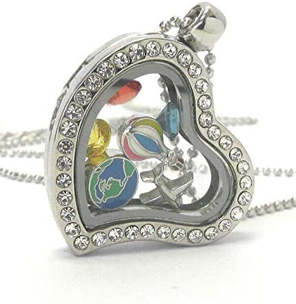Origami-Style Travel Theme Plane Recommendation Earth Floating Lock NEW before selling ☆ Heart Charm