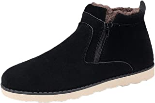 Naisidier Men Snow Boots High Top Keeping Warm Leather Ankle Boots with Zipper Closure Suitable for Wear in Cold Winter