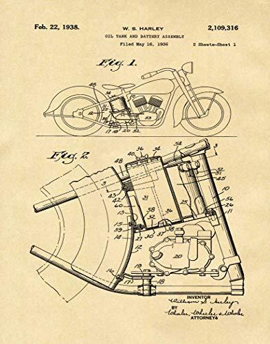 WallBuddy Harley Davidson Stampa Brevetto dal 1936 Vintage Harley Davidson Decor Moto Biker Decor Garage Poster Officina Decor Regalo WB304, Pergamena, 11.7 x 16.5 (A3)