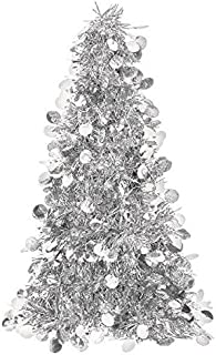 Silver Tinsel Christmas Tree Table Centerpiece | Party Decoration