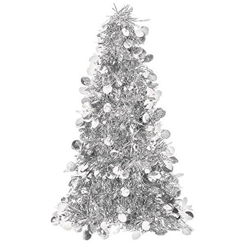 """Amscan Christmas Centerpiece Large Tree, 18"""", Tinsel, Silver"""