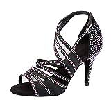 Jerilla Zapatos de Baile de salón para Mujer Sandalias de pedrería de satén para la Fiesta Boda...