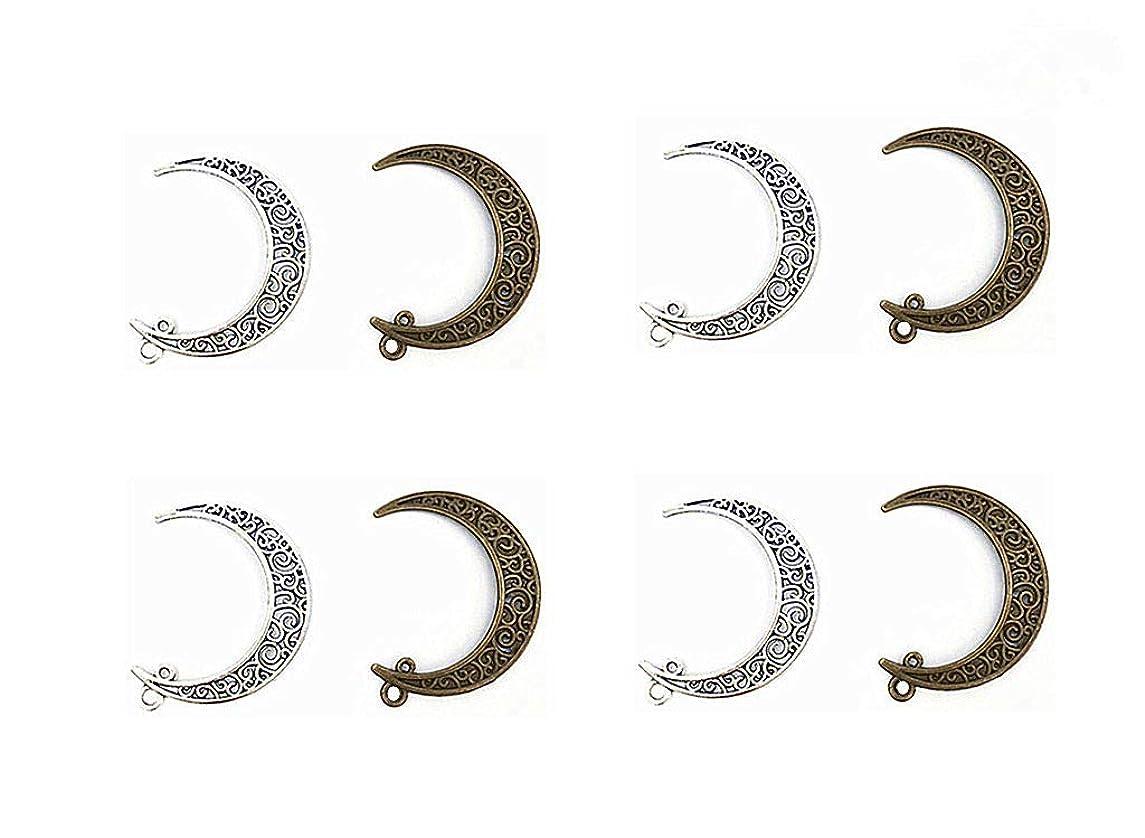Kinteshun Hollow Moon Luna Crescent Symbol Filigree Charm Pendant for DIY Jewelry Making Accessaries(20pcs,Antique Silver&Bronze)