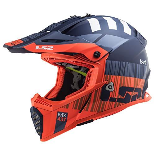LS2 Helmets Gate Xcode Full Face Helmet (Matte Fluo Orange Blue - Medium)