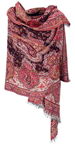 Guru-Shop Indischer Paisley Pashmina Schal/Stola, Schultertuch, Ethno Decke, Herren/Damen, Rot/beige, Synthetisch, Size:One Size, 220x100 cm, Schals Alternative Bekleidung